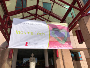 Banner welcoming Indiana Tech to Saint Judes